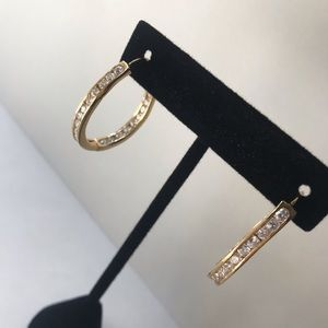 Vintage Gold Plated Crystal Hoops